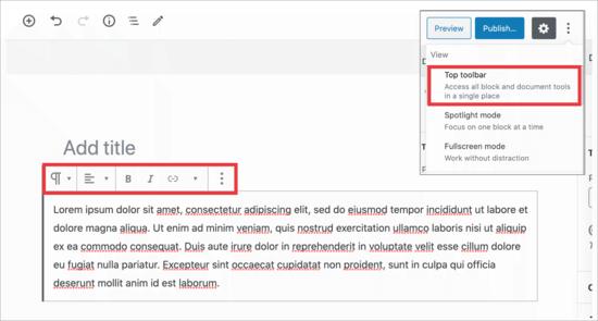 Block Toolbar