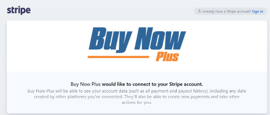 Buy Now Plus with Stripe account