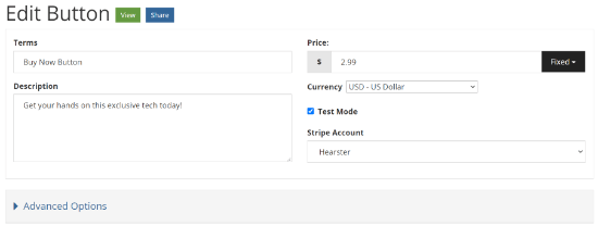 stripe account from the drop-down menu