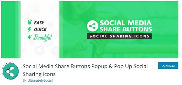 Social Media Share Buttons Popup By UltimatelySocial