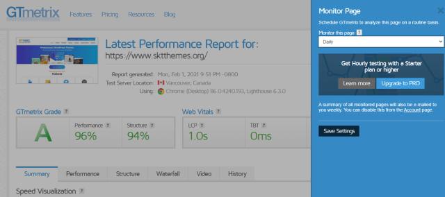 GTmetrix monitor page