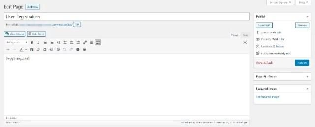 user registration page