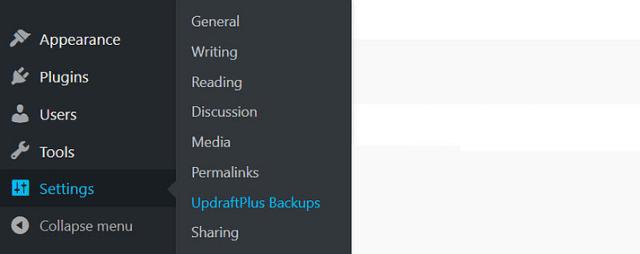 Backup to UpdraftPlus