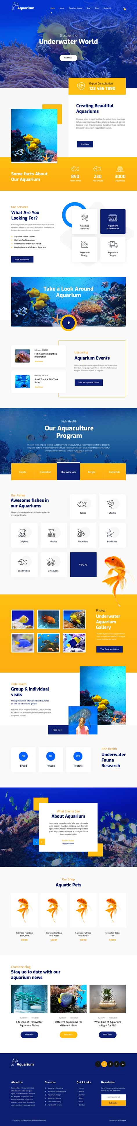 aquarium services WordPress theme