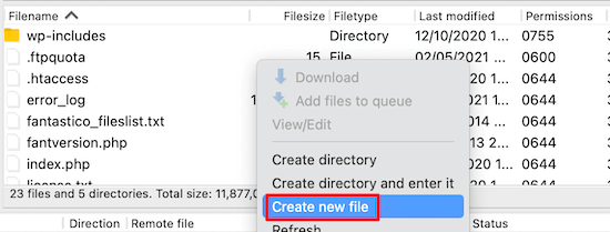 create the robot.txt file