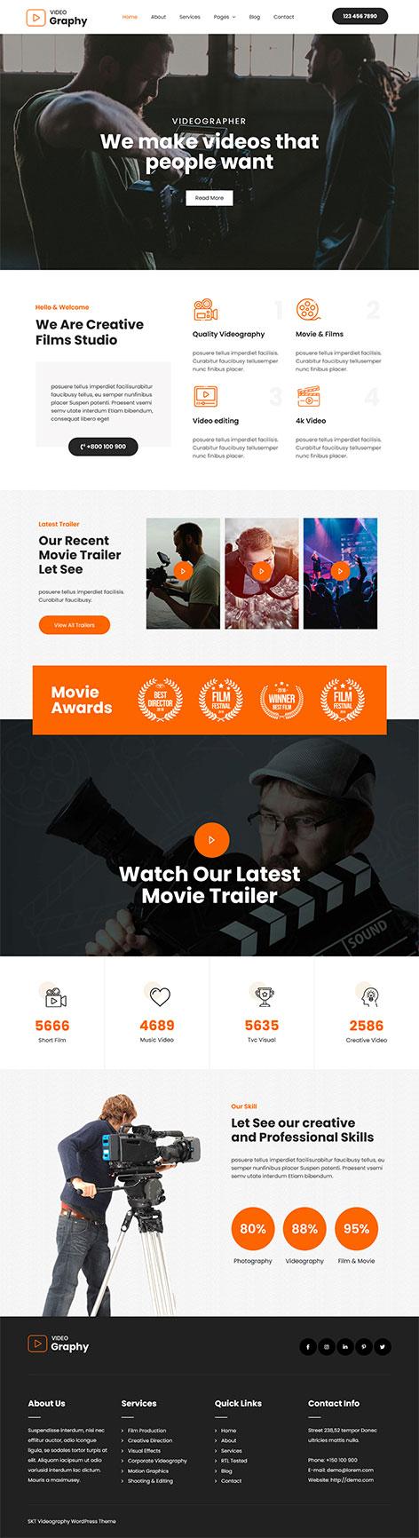 free videographer WordPress theme