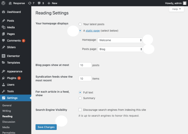 Blog Page Options