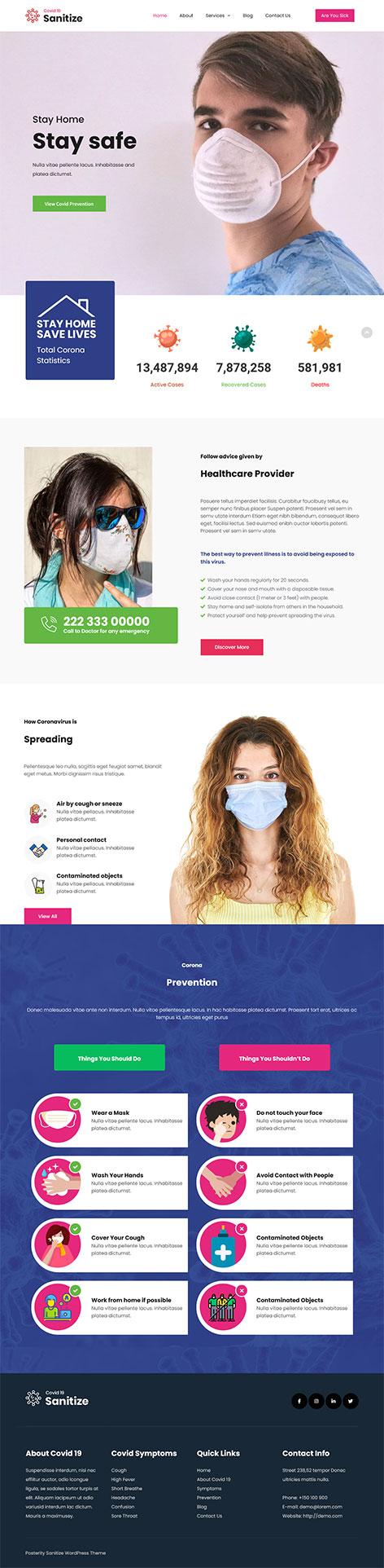 free sanitization WordPress theme