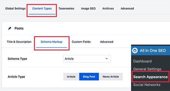 content types in wordpress