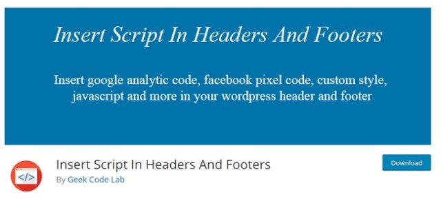insert script in header and footer