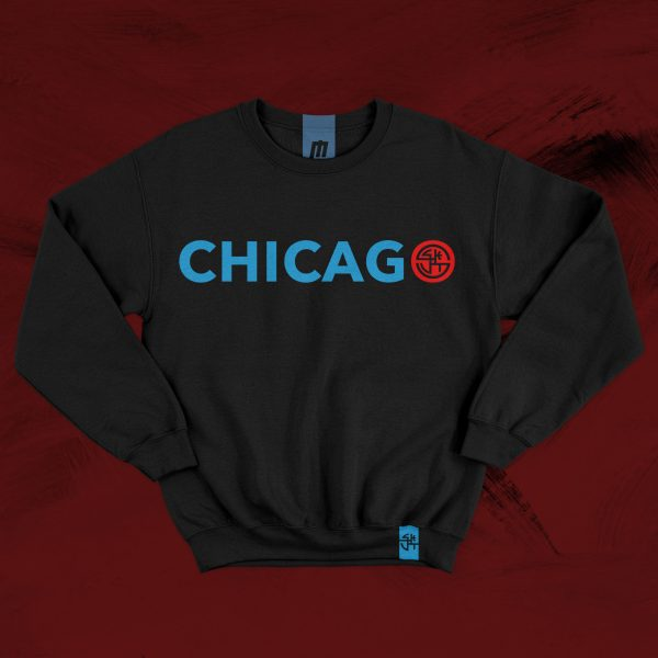 chicago black crew neck sweater long sleeve red blue skut city windy city