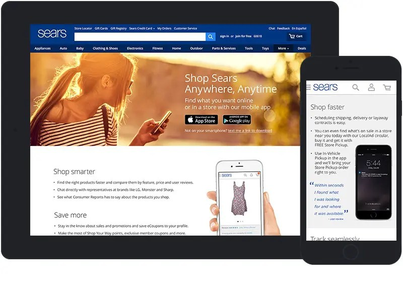 Sears mobile app landing page mobile device demo