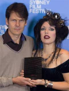 Warwick Burton & Isabel Peppard at Sydney Film Festival launch (holding the Award for Best Animated Short, awarded at Cinequest Film Festival 2013)