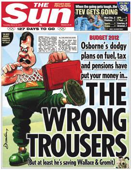 The Sun reflect sarcastically on chancellor George Osbornes 2012 budget announcement