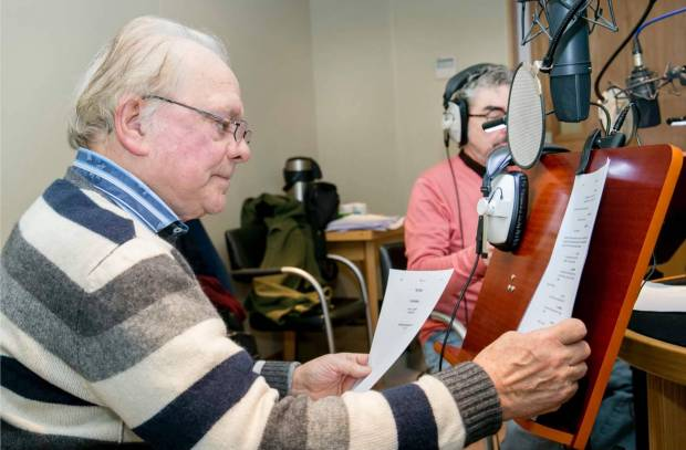 A still from a voice recording session with voice actors Sir David Jason and Jimmy Hibbert. Give your actors plenty of time to familiarise themselves with the scripts before the recording session so that they can bring something of themselves to the performance. Photo: Jimmy Hibbert.