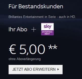 Sky Bestandskunden können ihr Abo für 5€ erweitern