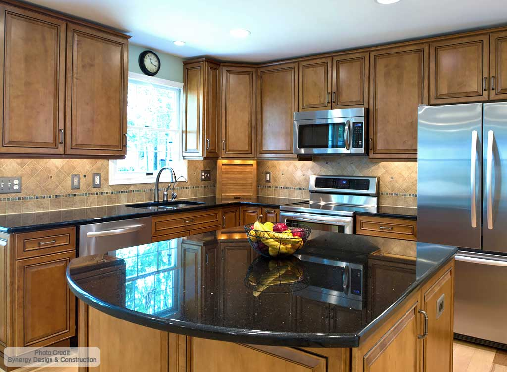 Black Galaxy Granite Countertops in Sterling VA, MD ... on Dark Granite Countertops  id=12830
