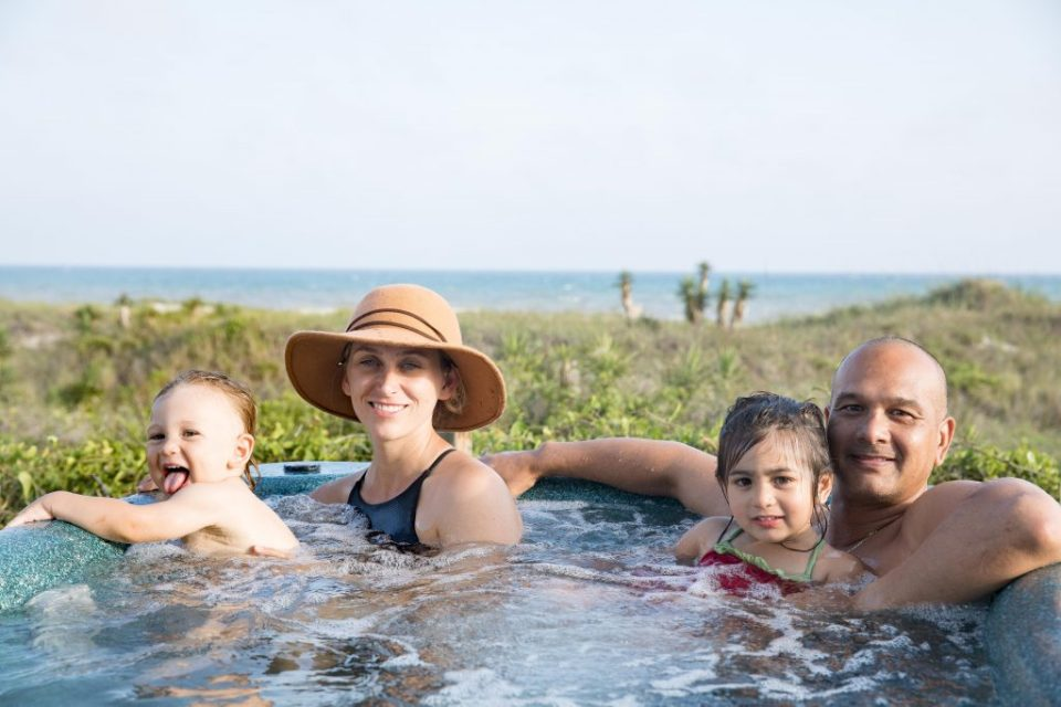 hot tube on the beach with family