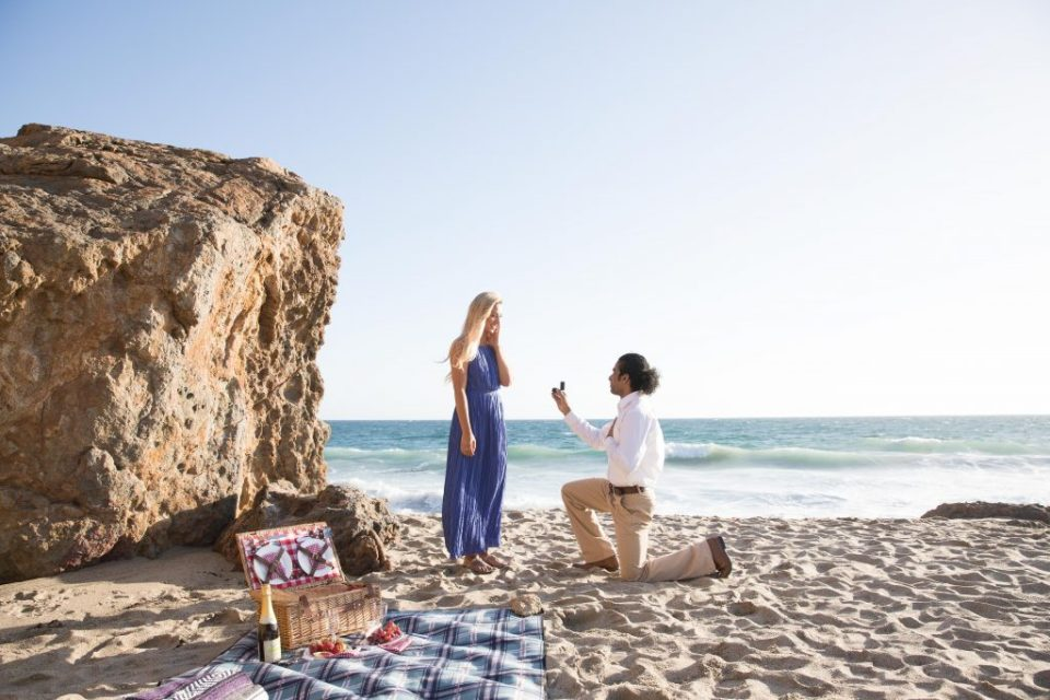 man proposes to women on malibu beach