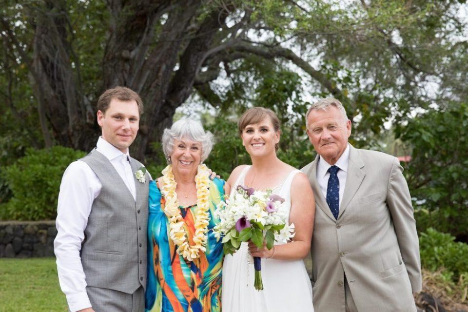 bride and groom tropical formals Kealakekua Bay Wedding Venue