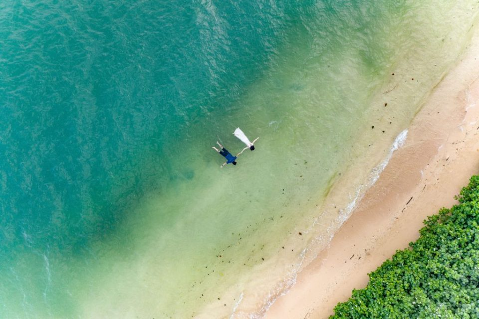 drone photography at secret beach island