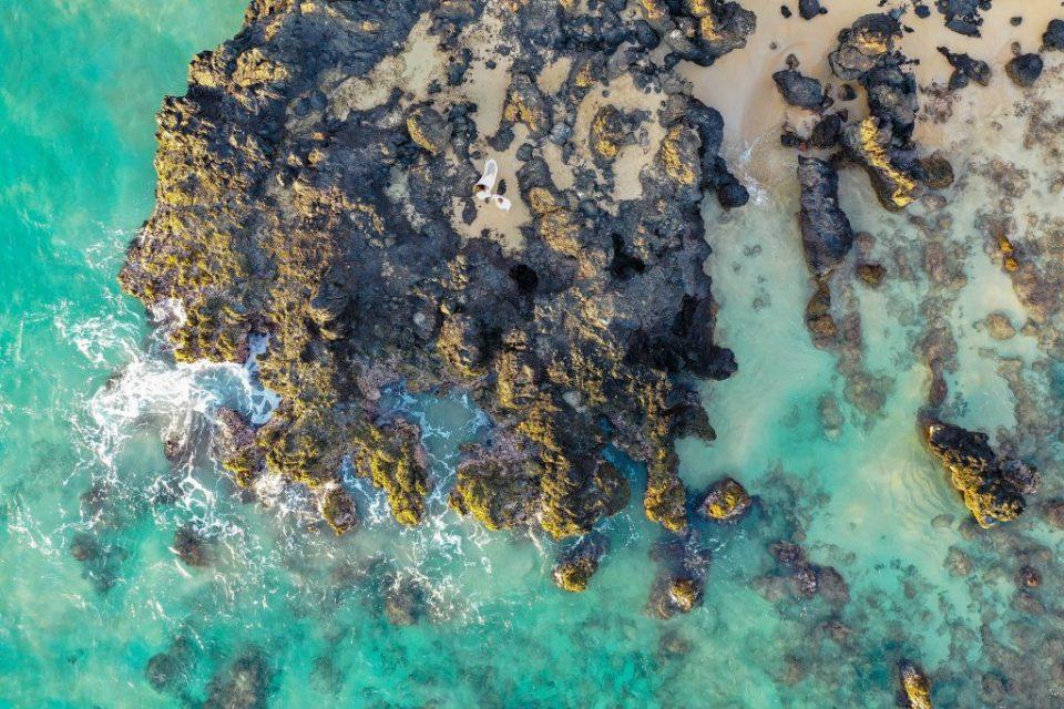 drone shot of beach in maui