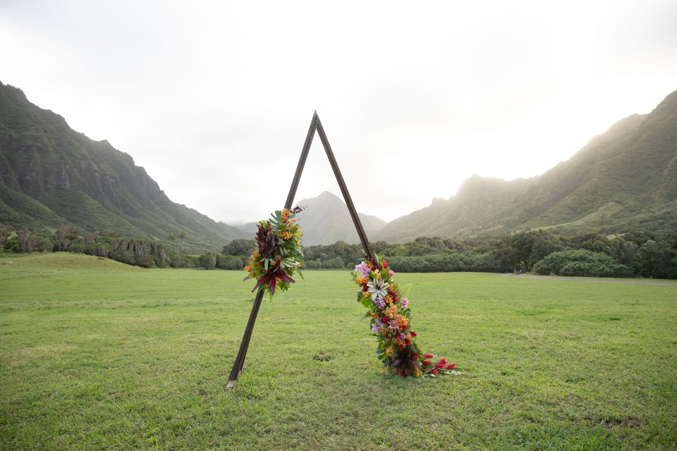 wedding arch inspiration with florals at Kualoa Ranch