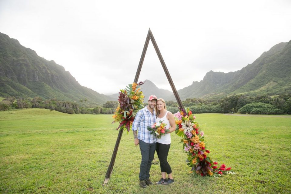 cute couple at Kualoa ranch wedding faire