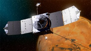 This image shows an artist concept of NASA's Mars Atmosphere and Volatile Evolution (MAVEN) spacecraft, which reached the Red Planet on September 21, 2014.Lockheed Martin