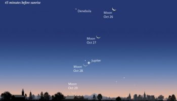 Jupiter Greets Crescent Moon in the Pre-Dawn Sky