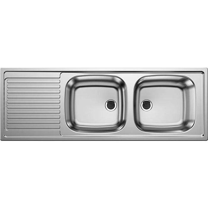 blanco top ezs built in double sink 500374 123 5 x 43 5 cm stainless steel reversible