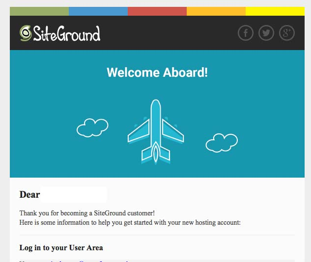 Welcome SiteGround Email