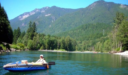 Kayaking south fork Skykomish River