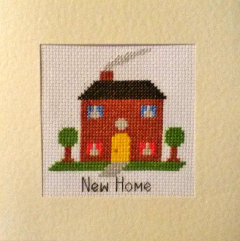 New Home House Design Cross Stitch Card Kit 55 X 55