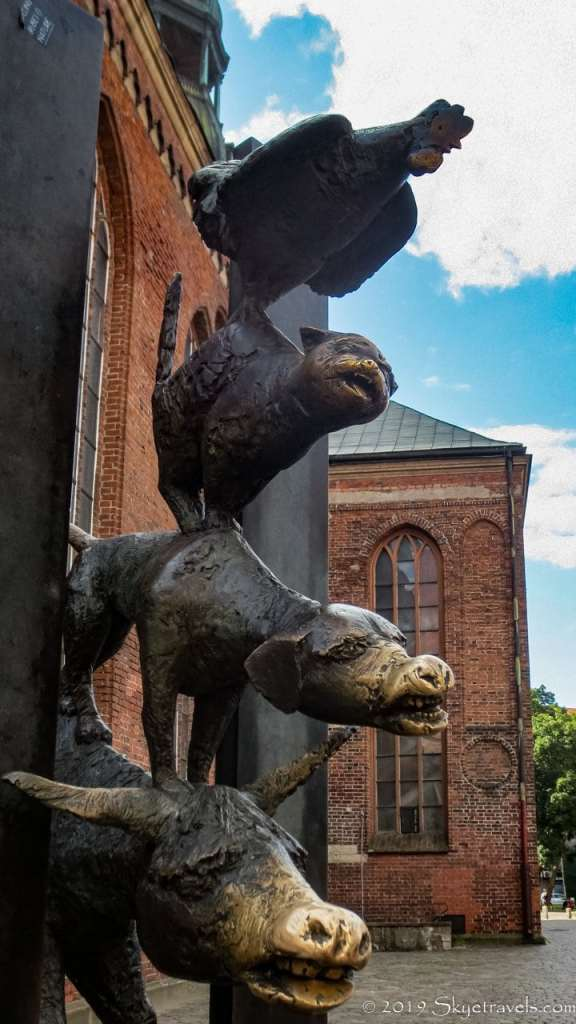 Cow, Pig, Cat, Rooster Sculpture in Riga, Latvia