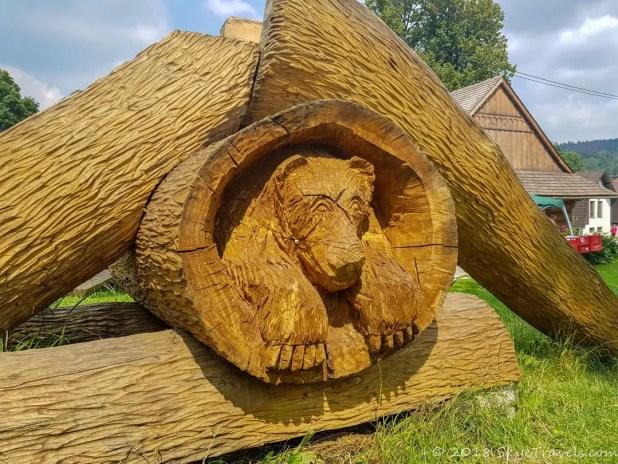 Wood Bear Under Slide at Museum