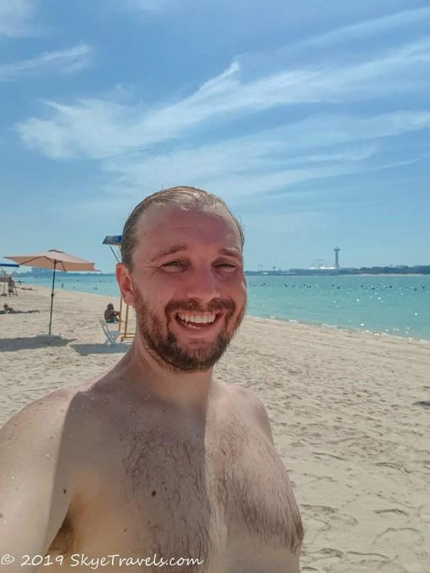 Selfie on Cornich Beach in Abu Dhabi