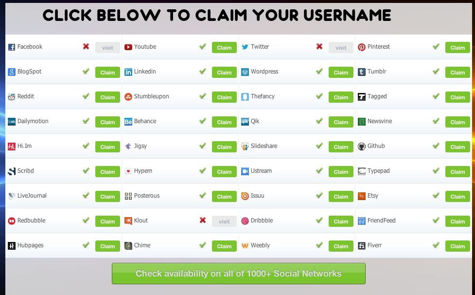 Controlla la disponibilita' del tuo nome su tutti i Social Network in un colpo solo