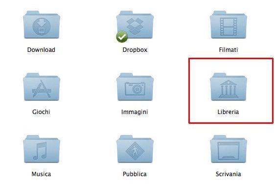 Trovare la cartella Libreria in Mac OS X Lion