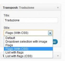 Transposh Widget di configurazione