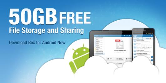 Box.net regala 50GB di spazio gratis agli utenti Android