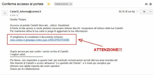 Falsa email servizio CartaSi | ATTENZIONE!!!