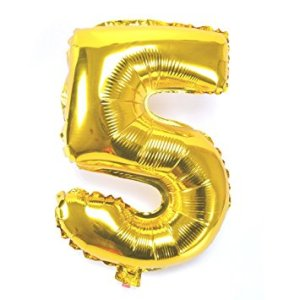 Number 5 Giant Gold Balloon Birthday Party Foil 40 inches