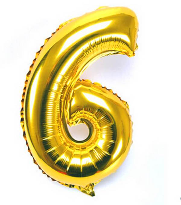 Number 6 Giant Gold Balloon Birthday Anniversary Party Foil 40 inches