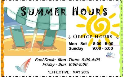 New JUNE Hours for Skyline Marina!