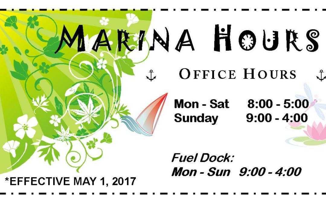 New MAY Hours for Skyline Marina!