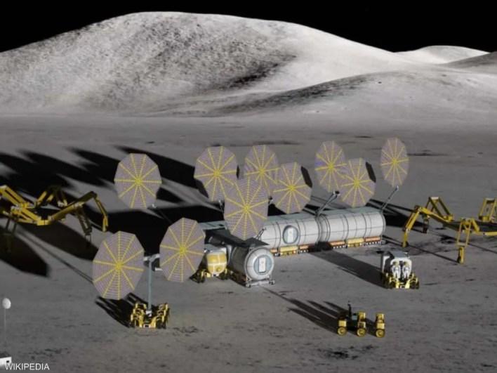 رسم توضيحي لقاعدة على سطح القمر