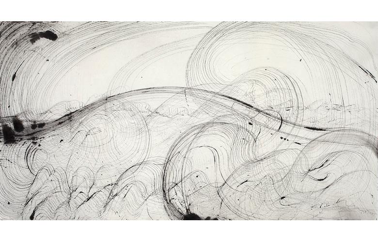 Sky Pape Ligurian Suite 9441 ink drawing on hanji paper
