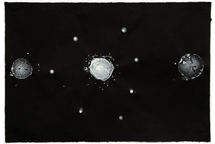 """Rajas, Tamas, Sattva,"" ink on handmade paper, 25-1/4"" h x 37-1/4"" w, 2009."