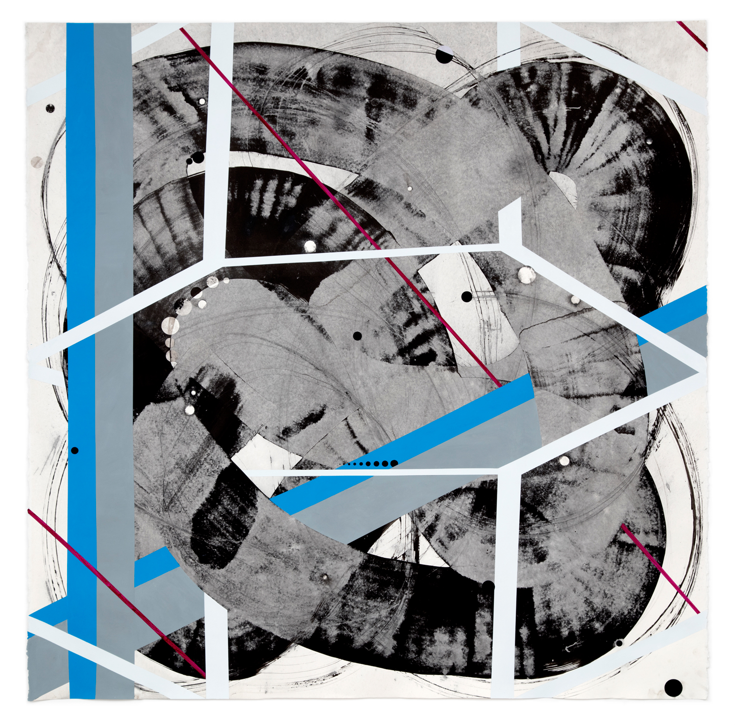 Sky Pape Passing Through, Time Being, ink, Flashe paint on paper